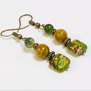 JK Designs Jewelry - Sea Sediment Jasper & Moss Agate Earrings